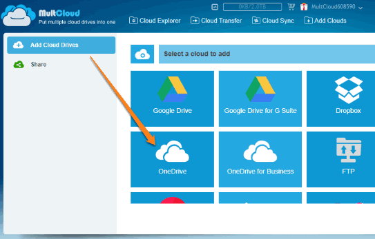 use add cloud drives option and connect onedrive