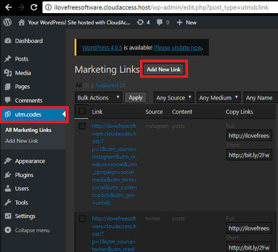 utm codes plugin WP page