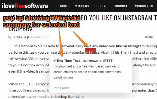 wikipedia summary visible for selected word on a webpage