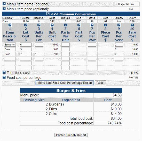 food cost calculator