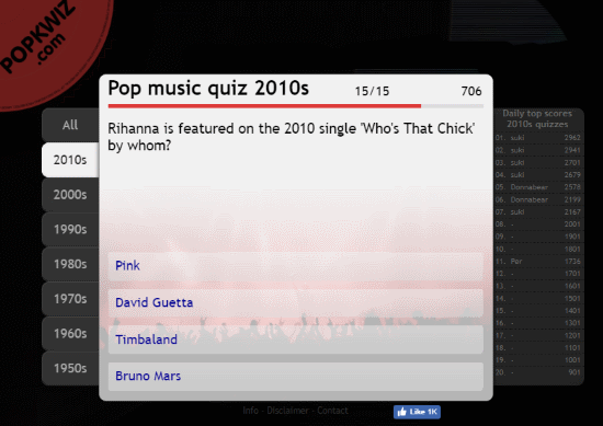 online pop music trivia quizzes