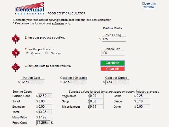free food cost calculator