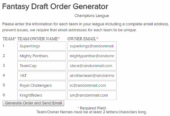 5 Online Random Draft Order Generator Websites Free
