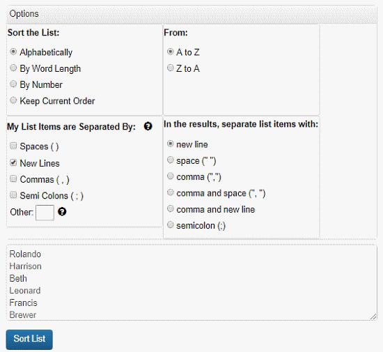 free alphabet order sorter