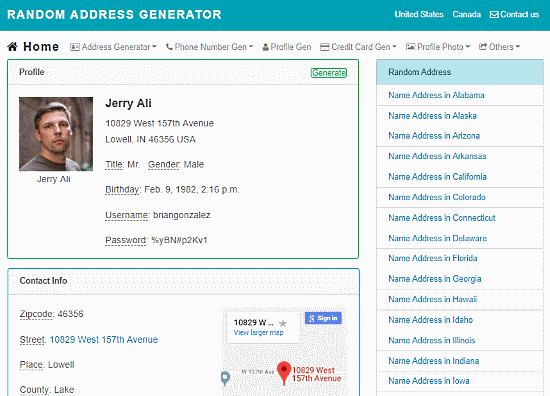 free online random address generator