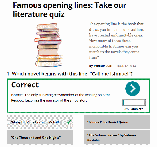 free online English literature quizzes for adults