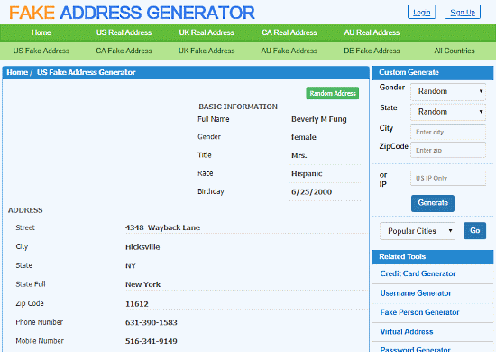online fake address generator free