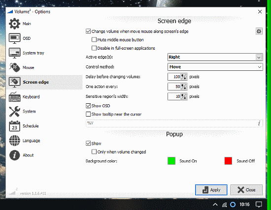 change volume via screen edge