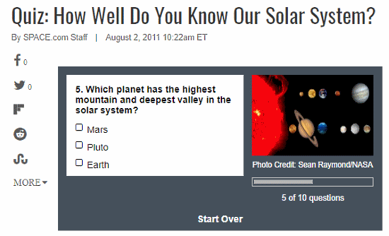 online astronomy quiz for kids