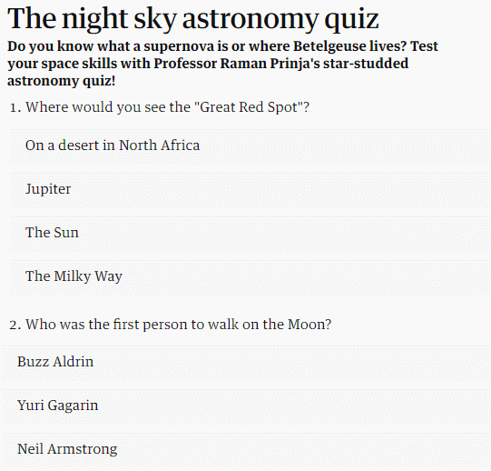 online astronomy quiz for kids free