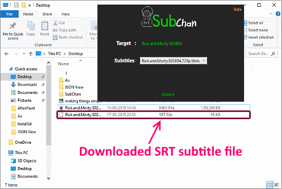 download subtitles from context menu