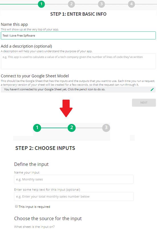 Algo enter app info and specify inputs