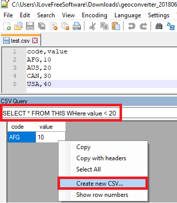 CSV Query in action