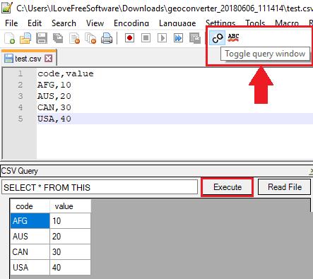 CSV Query toggle query window