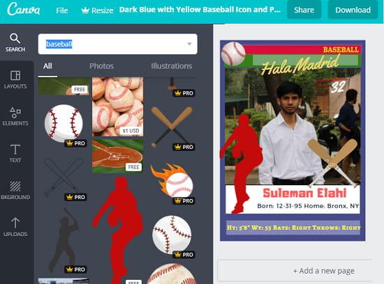 Canva free baseball card maker website