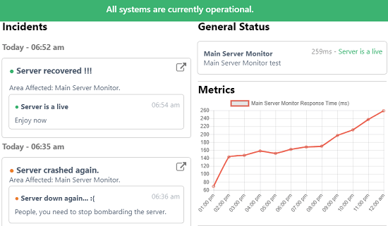 Create Free Status Page for your site with Uptime Monitoring