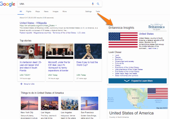 Encyclopedia Britannica article is visible in google search result page
