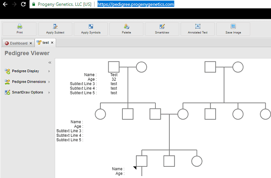 Free Online Pedigree Tool in action