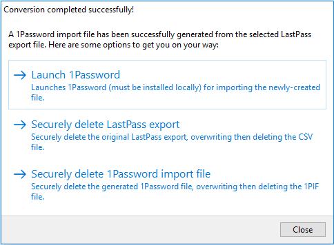 LastPassTo1Password post conversion options