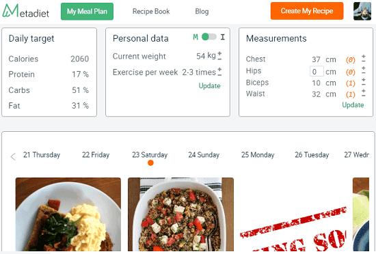 Meta Diet free online diet planner