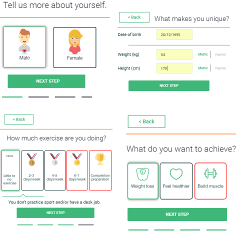Metadiet specify personal information and sign up
