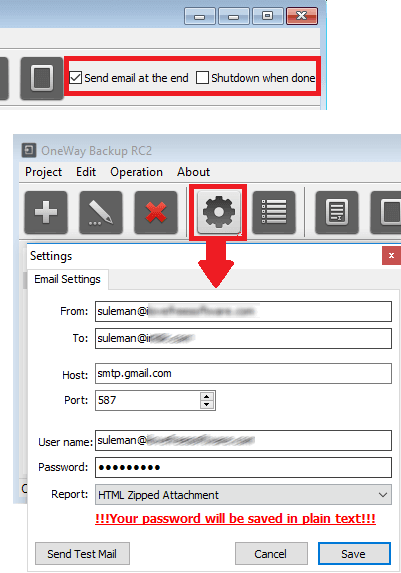 OneWay Backup RC2 email settings