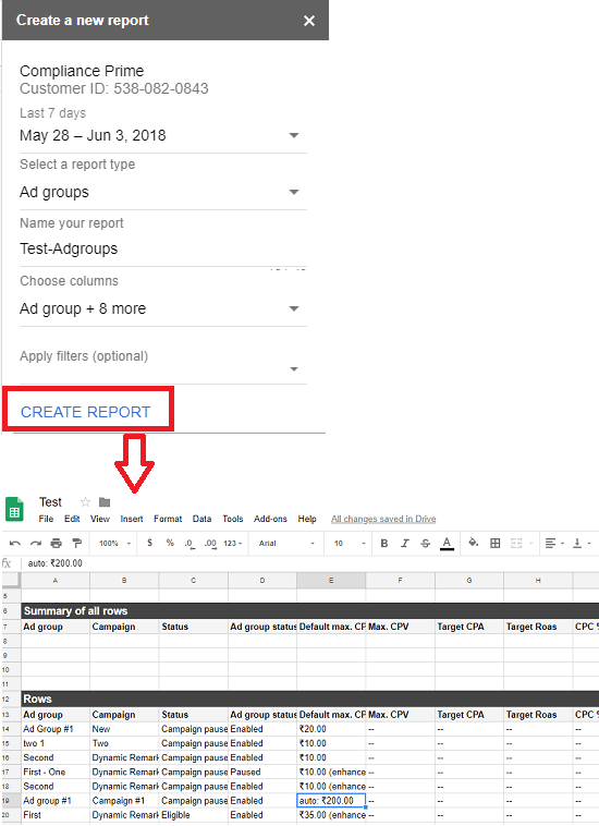 Report created in Google Sheets using data from AdWords