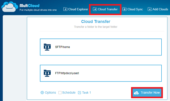 SFTP accounts add to start the transfer