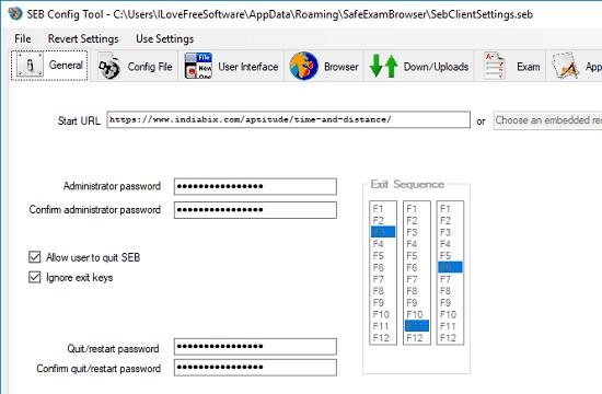 Safe Exam Browser Config Tool