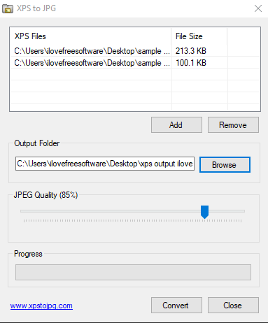 XPS to JPG- interface
