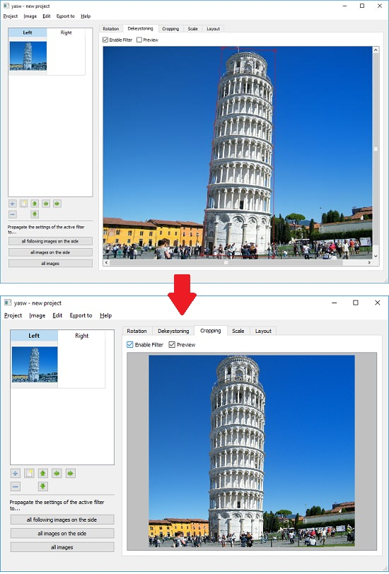 YASW free image perspective correction software