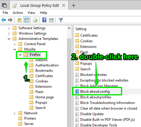 access firefox folder and then double click on block about config setting