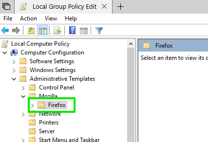 access firefox folder in group policy