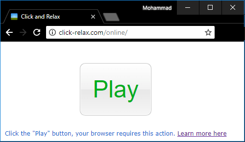 click and relax play button in browser
