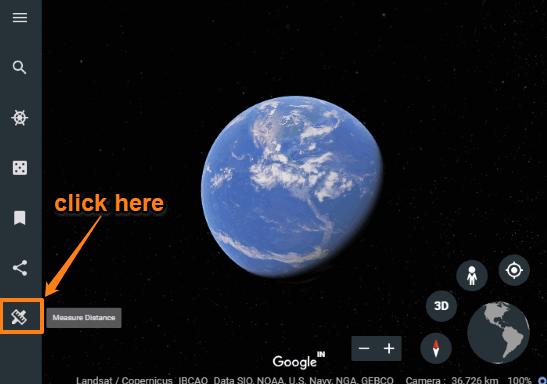 click measure distance icon