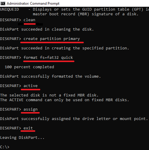 diskpart other commands