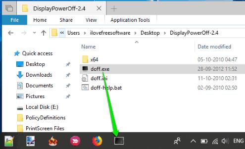 display power off utility taskbar icon