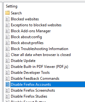 double click on disable firefox accounts option