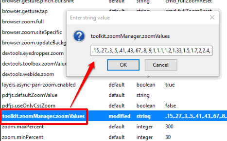 double click on toolkit.zoomManager.zoomValues option and add custom zoom values