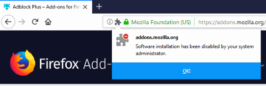 error installing the firefox extension