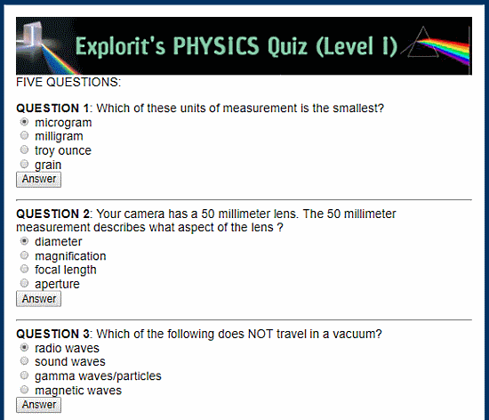 10 Online Science Quiz For Kids