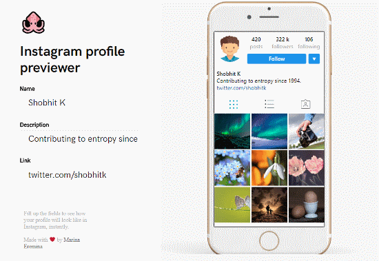 Instagram profile previewer
