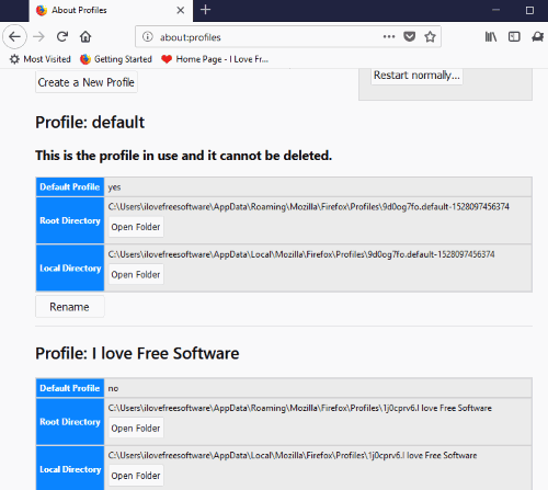 firefox profiles page is accessible