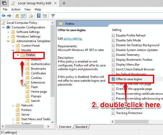 go to firefox folder and double click offer to save logins setting