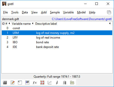 gretl interface and file imported