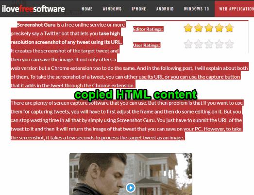 html content copied