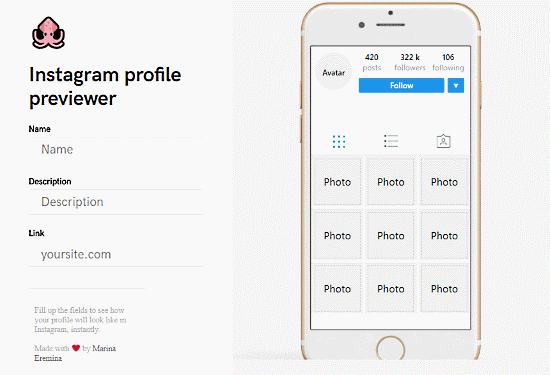 create Instagram profile preview instantly