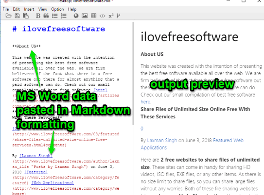 ms word content pasted as markdown format