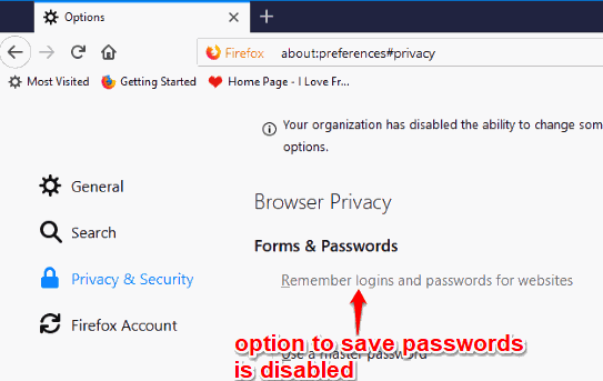 option to save passwords is disabled