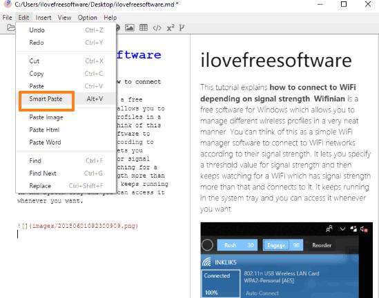 paste html data in markdown formatting